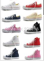 Hot sale canvas shoes 12 colors low&high style classic Canvas Shoes,Lace up women&men Sneakers,lovers shoes