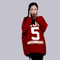 2014 letter print loose long-sleeve sweatshirt big letter 5 autumn and winter long-sleeve T-shirt free shipping