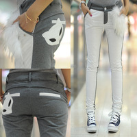 Down pants thickening patchwork fox pattern casual skinny pants down casual trousers for winter S,M,L free shipping