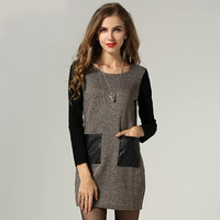2014 New Gray And Brown Long Sleeve Women Autumn Winter Dress  plus size  XL XXL XXXL 4XL 5XL free shipping zex19