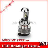 Free Shipping DC12V 24V 40W 4800LM H4hi/Lo CREE - XML2 LED Car Headlight Lamp Fog Light 6500K Bulbs Car Truck