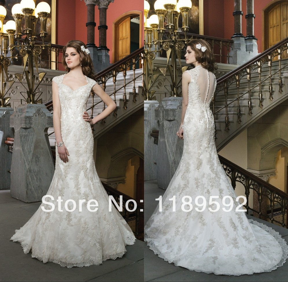 romanticBest Selling Sweetheart Appliques Wedding Dress 2014 Sweep Train Bridal Gown Covered ButtonGownkorean wedding dress(China (Mainland))
