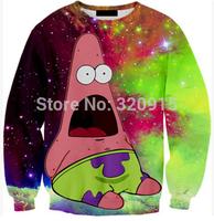 2014 New fashion Women Men Starry sky Patrick Star Print 3D Sweatshirts Hoodies Galaxy sweaters Tops
