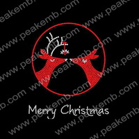 Reindeer Rhinestone Christmas Transfers Custom T Shirts Designs Wholesale Bling Motifs 50Pcs/Lot Free Shipping