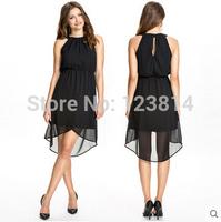 Black Chiffon Party Dresses Women Sexy Evening Dress O-Neck Off Shoulder Asymmetrical Elastic Empire Waist Fashion Vestidos D613