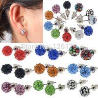 11 Color 8mm Fashion Earrings Micro Disco Ball Crystal Stud Earring for Women Ball Earrings Jewelry