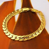 Men's 14k Solid gold filled Snake snakeskin bone seamless Bracelet brave warrior  fashion jewelry