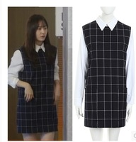 Size XS,S,M,L,XL,2XL Women Undetachable White Blue Plaids Long Sleeve Cocktail Dress One Piece Free Shipping 89156
