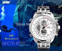 Fashion Business Style Men Military Watches Dual Time Multifunction Digital & Quartz Watch 30M Waterproof Full Steel Wrist watch