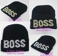 Free Shipping wholesale skullies cap gorro new design rhinestone crystal BOSS winter hats for women brand hip hop female beanies