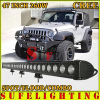 Free DHL Shipping 48'' 260W CREE LED WORK LIGHT BAR DRIVING LIGHT COMBO BEAM IP68 FOR OFFROAD TRUCK 4WD ATV UTV USE 12V 240\120W