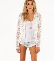Free shipping whole sales women autumn long sleeve short outwear coat ladies lace short jacket