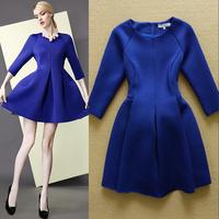 Fashion Autumn and Winter 2014 Space Cotton slim Puff  Elegant one-piece Dress