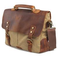 High Quality Men's Vintage Canvas Genuine Leather Messenger Bag Shoulder Satchel Bag