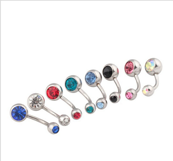 2014 new 316l surgical steel rhinestone navel ring