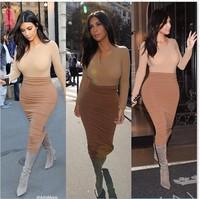 2014 Winter Frozen women sexy long Sleeve dresses bandage bodycon Kim Kardashian Celebrity evening casual Dress 2 pcs  Vestidos