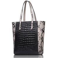 Genuine leather+PU bag embossed leather women handbags woman shoulder tote bags snake match stone pattern leather handbag 2015