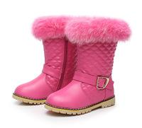 2014 female child boots rabbit fur genuine leather + PU princess boots child snow boots children boots