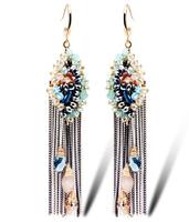 TIANSHE 2014 High quality handemade luxury Austrian crystal beads bohemian style fashion drop earring long tassels for women,995