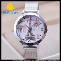 50/lot fashion Eiffel tower design silver mesh-belt women watch(WJ-2758-1)