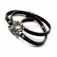 Fashion Jewelry Acrylic Crystal Rhinestone Bee Flower Design Multi-layer Winding Black Leather Bracelet For Women PSB-S031