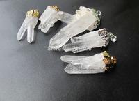 New arrived!High Quality Clear quartz Rough druzy point gem stone jewelry pendant 5pcs/lot fit quartz jewelry diy