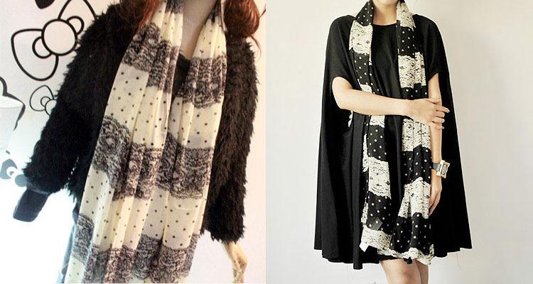 Fashion women Chiffon lace stitching scarf/Fashion women Chiffon lace stitching shawl(China (Mainland))