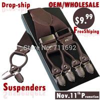$9.9 gentleman casual leather suspenders Adjustable 6 clip Men's suspenders clip Fashion Suspenders Belt Strap