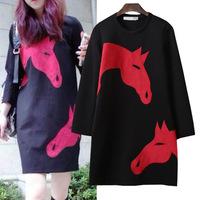 Women Autumn spring winter warm dresses Horse Head Print Long Sleeve Round Neck Fit Dress black color M L XL size
