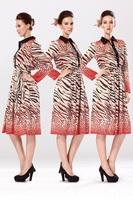 Free Shipping New 2014 Fashion Women Korean Autumn Elegant Temperament Turn-down Collar Long Sleeve Floral Print  Dress 8152