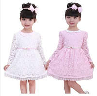 Toddler Girls Princess Flower Lace Dress With Belt Fairy Party 2-7Y