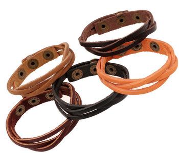 Акция 5 цветов дешевый ручной плетеный кожаный браслет браслет для мужчин и женщин ...