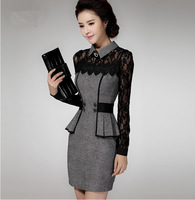 Korean version of the new autumn and winter 2014 OL temperament Slim long-sleeved lace dress Slim hip pockets income base skirt