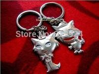 2pcs/Lot free shipping cartoon lover wolf keychain / key ring/Valentine Christmas gift