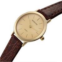 Hot Sale Luxury Ultra-thin Dial 2 Hands Women Brown Leather Quartz Watches Gold Brand Wristwatch