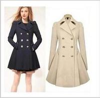 XXL Plus Size 2014 Hot New Fashion Elegant Long Sleeve Women British Style Trench Coat Free Shipping Lady's Winter Overcoat
