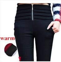 autumn winter warm  high waist Plus thick velvet leggings outer wear  women  zipper pants female plus size jeans