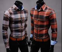 Hot! Free Shipping High Quality Western Style Stylish Plaid Turn-down Collar Man 100% Cotton Shirts