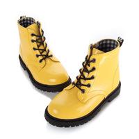 Children boots male child leather 2014 autumn child boots japanned leather martin boots female boots child single shoes