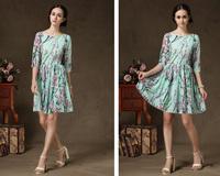 Free Shipping New 2014 Fashion Women Korean Autumn Elegant Temperament O-Neck Half Sleeve Floral Print Plus Size Dress 58011