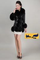 Genuine natural fox fur collar sheepskin leather coat fashion winter warm woman outwear coat