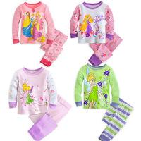 New 2014 Frozen Ice Snow Princess Pajama Set Princess Clothing Sets 1-6 Age Kids Clothing Pants Suit Child Nightie/Pyjamas