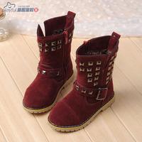 2014 winter child snow boots female boots child rivet medium-leg velvet cotton-padded shoes boots martin boots