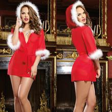 Miss Ladies New Christmas And Valentine's Day Women Negligee Night Robe Sexy Pajama Nightwear(China (Mainland))