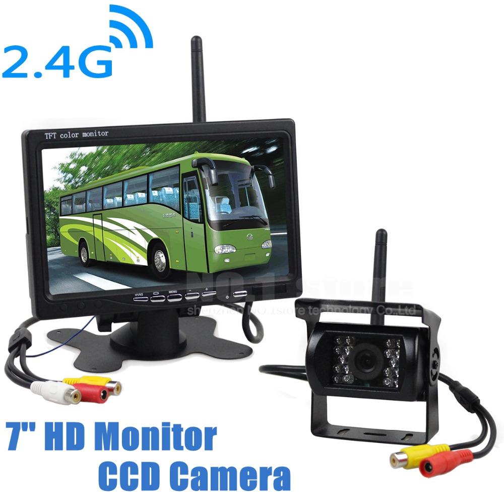 Wireless Transmission HD 800 x 480 7inch Car Monitor IR CCD Rear View Backup Camera For Car Bus Truck Caravan Trailer RV(China (Mainland))