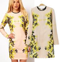 Women ladies dresses autumn spring Floral Print Long Sleeve Bodycon Slim Round Neck Elegant winter basic Dress vestido S M L
