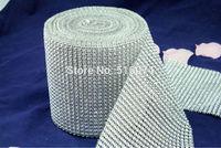 "10Yard  4.6"" wide Silver Color Diamond Mesh Wrap Rhinestone Crystal  Roll , best  custom service with high quality"