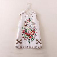 2014 new Brand autumn and winter children clothing girls Dress Princess Dobby 3D print Flower Sleeveless 2 colors 2-8T Christmas