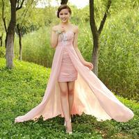 Low-high formal dress bride evening dress tube top dovetail skirt evening dress chiffon long formal dress W141
