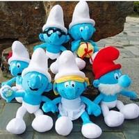 Wholesale  1 lot/6PCS  30cm DOLL The elves papa Smurfette Clumsy Plush Toys 6 design gift!
